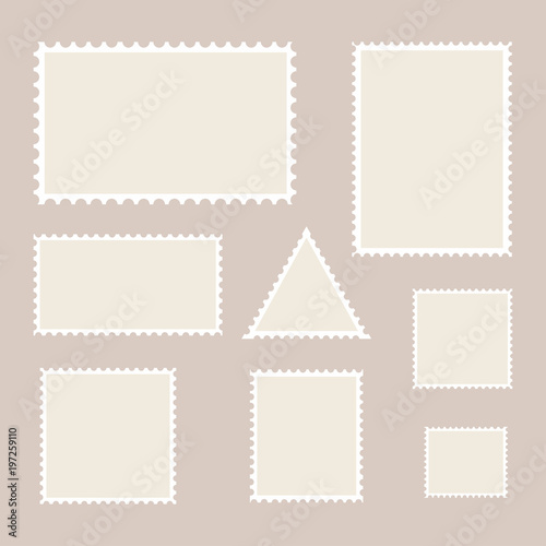 postage stamp template set of blank stamps buy this stock vector