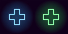 Blue And Green Neon Medical Cross
