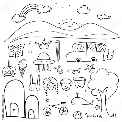 Stampe  Hand Drawn Doodle Lovely Vector Set For Kid.
