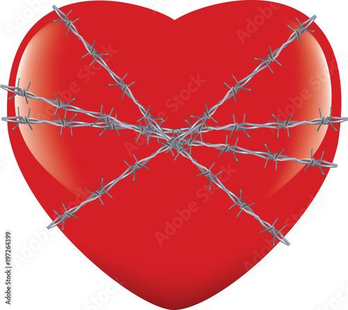 Fényképezés  cuore legato con filo spinato