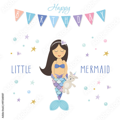 Birthday Card Template Little Mermaid With Unicorn Toy Cute Cartoon Characters Vector