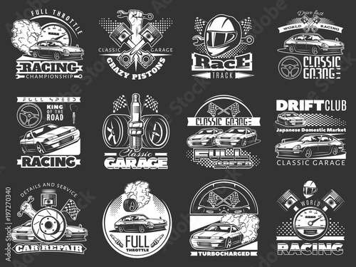 Photographie set of car racing white monochrome emblems, labels, logos and championship race badges with descriptions of classic garage, drift club, world racing