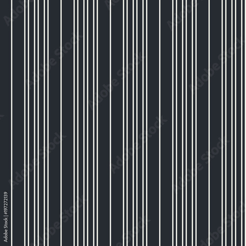 Fotografie, Obraz  Seamless vector vertical modern stripe pattern in white with a black background