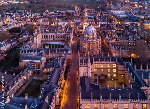 Fototapeta Aerial evening view of central Oxford, UK obraz na płótnie