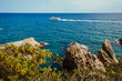 The yacht sails in the sea in Spain. landscape. spain