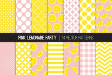 Pink Lemonade Vector Patterns. Yellow Lemon Halves And Slices, Chevron, Stripes, Polka Dots, Gingham And Quatrefoil. Lemonade Stand Summer Party Decor. Mod Backgrounds. Pattern Tile Swatches Included