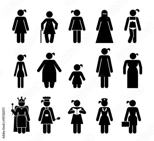 Set of female pictograms that represent various kinds of