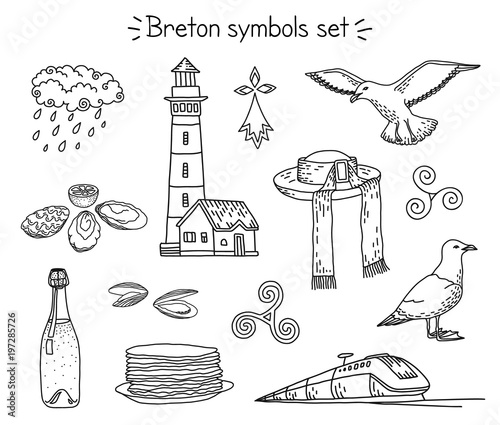 Fotografía Vector coloring book breton elements: lighthouse, seagulls, traditional hut, train, cidre and crepes, oysters, mussels, rainy cloud, triskele and hermine
