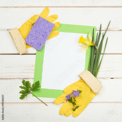 Spring cleaning card for list of chores with flowers sponge yellow spring cleaning card for list of chores with flowers sponge yellow gloves on rustic and distressed white board background with room or space for your mightylinksfo