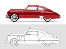 Vector Illustration Of Buick Roadmaster 1949. Classic Oldtimer Car.