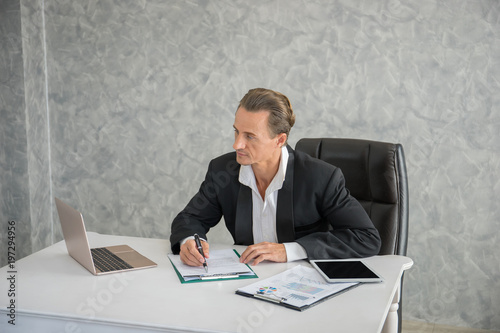 Garden Poster Businessman sitting at his workplace in front of laptop computer while doing some business paperwork.