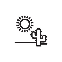 Desert Nature, Desert Plant Outlined Vector Icon. Modern Simple Isolated Sign. Pixel Perfect Vector  Illustration For Logo, Website, Mobile App And Other Designs