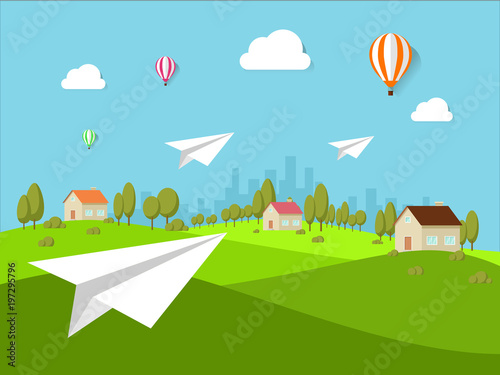Cute rural landscape tree flat style vector, illustration, isolated
