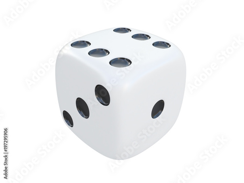 white dice with black spots isolated on a white background 3d rendering плакат
