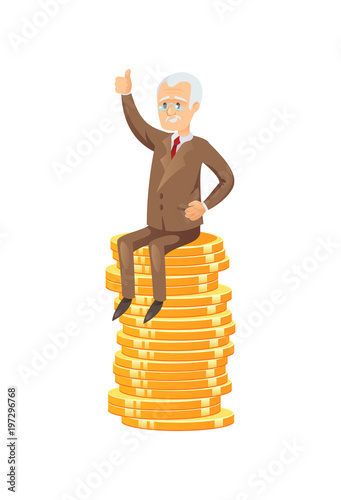 Flat vector of elderly businessman sitting on pile of golden coins showing thumb up Wallpaper Mural
