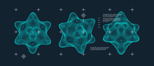 Object With Lines And Dots. Molecular Grid. Technology Style With Particle. Vector Illustration. Futuristic Connection Structure For Chemistry And Science.