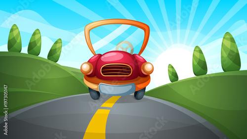 Staande foto Cartoon cars Travel illustration. Cartoon road landscape. Vector eps 10