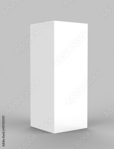 Pop Up Trade Show Tower tall Display with Stretch Fabric Square Column. 3d render illustration. Wall mural