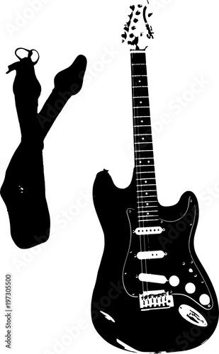 Fotografía Vector image of electric guitar and guitar strap