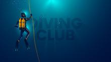 One Scuba Diver Underwater. Ba...
