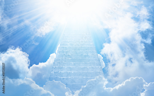 Fototapeta Stairs to heaven, bright light from heaven, stairway leading up to skies