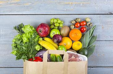 healthy, food, grocery, background, basket, bag, vegetables, fish, balanced, purchase,