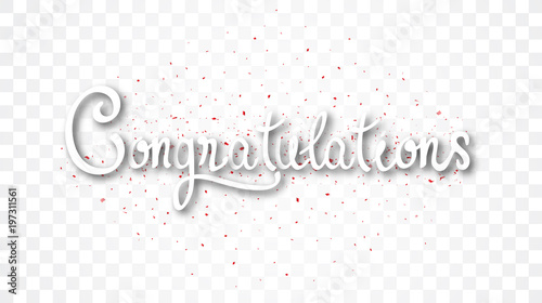 Congratulations banner , isolated on transparent background Canvas Print