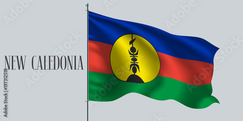 Fotografie, Obraz  New Caledonia waving flag on flagpole vector illustration