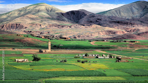 Fotobehang Marokko Landscape in the plains of Fez in Morocco