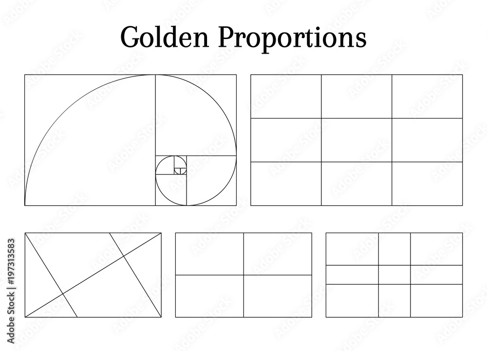 Fototapeta Composition proportion help guidelines set for arrangement adjusting