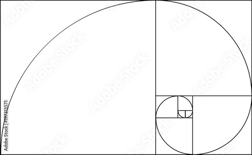 Golden ratio template. Composition spiral guideline illustration Fotobehang