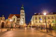 Architecture of the old town in Krakow at night, Poland