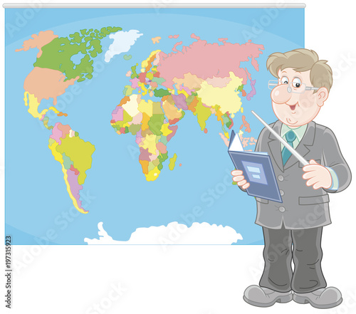 Fotografia  Geography teacher with a schoolbook and a pointer standing near a world map, a
