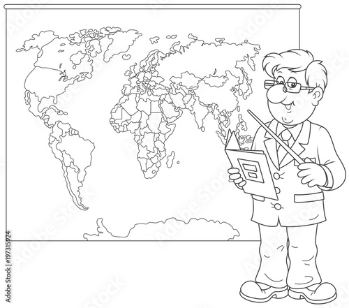 Geography teacher with a schoolbook and a pointer standing near a geography teacher with a schoolbook and a pointer standing near a world map a black gumiabroncs Images