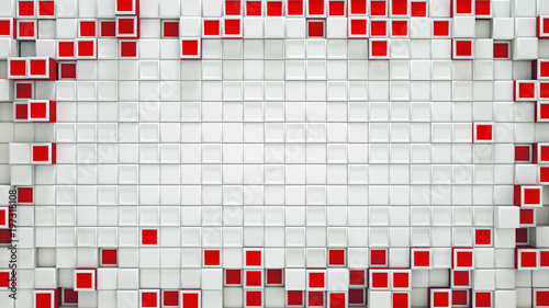 Fototapety czerwone frame-of-red-3d-cubes-and-free-space-abstract-background
