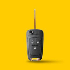 New key car on yellow background.