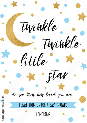 twinkle twinkle little star text with golden oranment and
