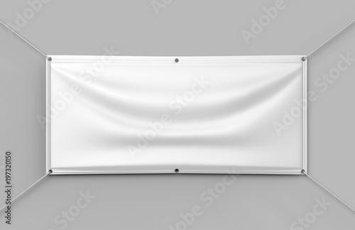 Photo  Blank White Indoor outdoor Fabric & Scrim Vinyl Banner for print design presentaion