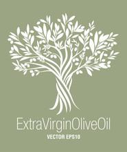 Olive Tree. Extra Virgin Olive Oil Symbol. Symbol Of Culture And Mediterranean Food.