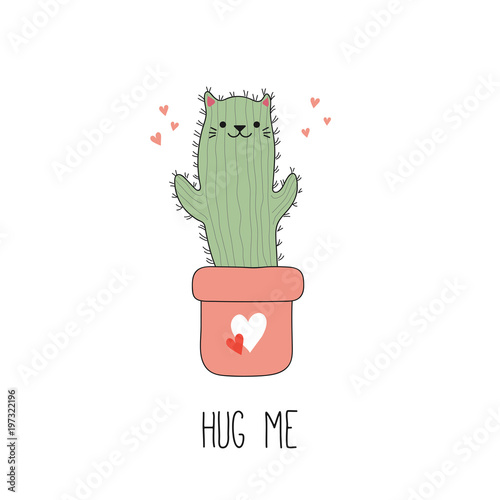 Printed kitchen splashbacks Illustrations Hand drawn vector illustration of a kawaii funny cactus cat in a pot, with text Hug me. Isolated objects on white background. Line drawing. Design concept for children print.