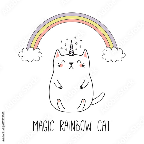 Photo Stands Illustrations Hand drawn vector illustration of a kawaii funny unicorn cat under the rainbow. Isolated objects on white background. Line drawing. Design concept for children print.