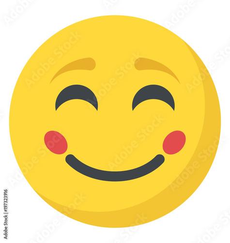 Obraz na plátně  Blushing and happy expression through emoticon icon