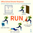 Office and School shooter response tips illustration set