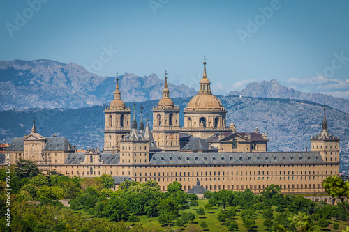 The Royal Seat of San Lorenzo de El Escorial, historical residence of the King of Spain, about 45 kilometres northwest Madrid, in Spain.