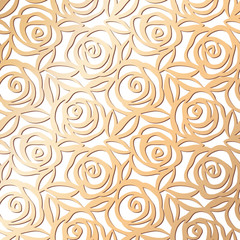 NaklejkaOrnamental rose floral golden pattern. Pink gold seamless texture. Roses with leaves background. Vector illustration.