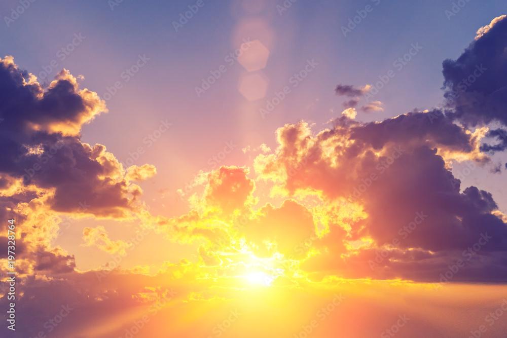 Fototapeta Bright sun behind the clouds