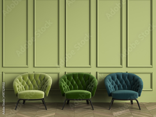 Valokuva  3 Tufted green armchairs in classic interior with copy space