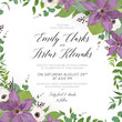 Wedding floral invite, save the date card design with elegant purple violet clematis flowers, white anemones, eucalyptus green branches greenery vine ruscus leaves & berries. Beautiful cute template
