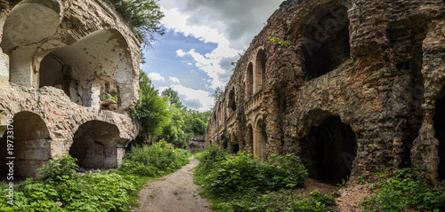 Tuinposter Vestingwerk Ruins of Tarakanivskiy Fort (Fort Dubno, Dubno New Castle) - fortification, architectural monument of 19th century