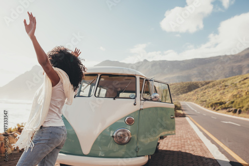 Fotografie, Tablou  Woman having fun on road trip